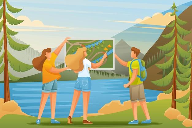 I giovani stanno studiando una mappa sul lago nel bosco, in campeggio Vettore Premium
