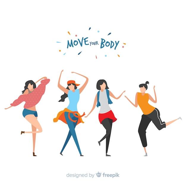 I giovani ballano. lezioni di danza. festa Vettore Premium
