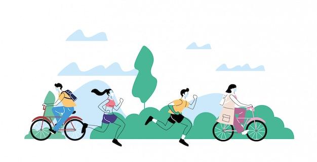 Giovani che fanno attività fisica all'aperto al parco, stile di vita sano e fitness Vettore Premium