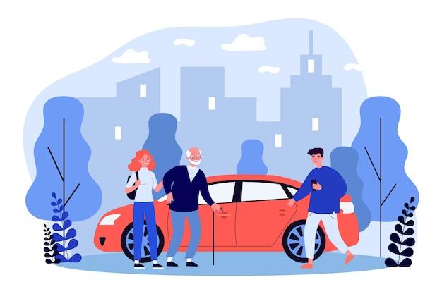 I giovani aiutano la persona anziana a sedersi in taxi in design piatto Vettore Premium