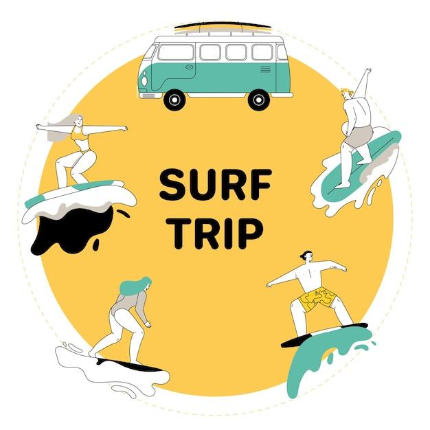 I giovani a cavallo sul set di tavole da surf. uomo e donna in costume da bagno cavalca tavole da surf sulle onde dell'oceano. camper d'epoca Vettore Premium