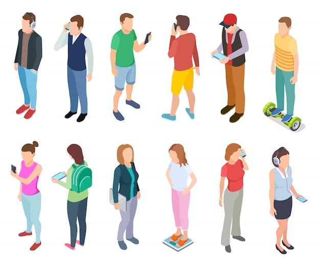 I giovani che parlano smartphone in eleganti pantaloni a vita bassa casual vestiti giovani ragazzi tablet persone telefono set Vettore Premium