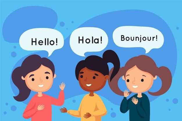 Giovani che parlano in diverse lingue Vettore Premium