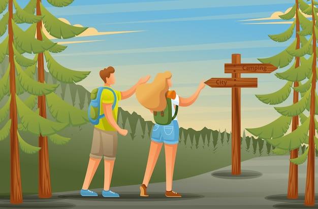 I giovani usano la navigazione forestale sotto forma di indicatori, il campeggio Vettore Premium