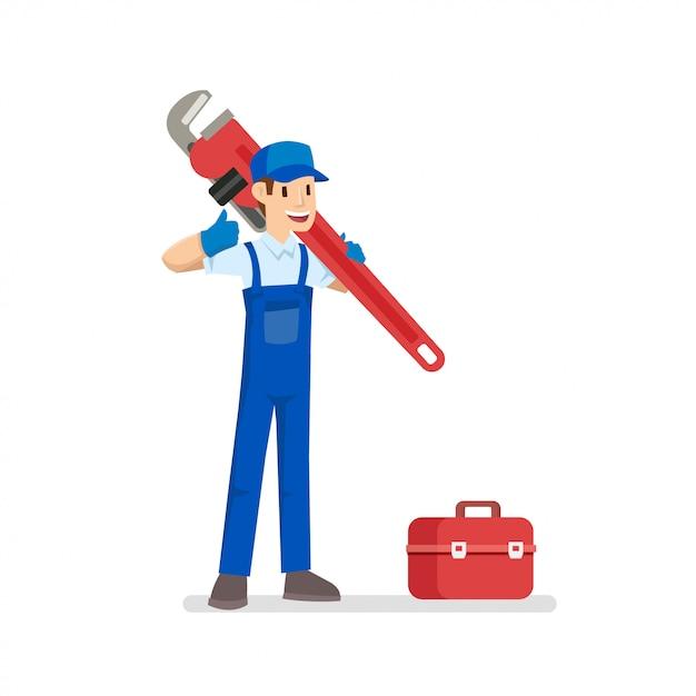 Giovane idraulico con il suo strumento Vettore Premium