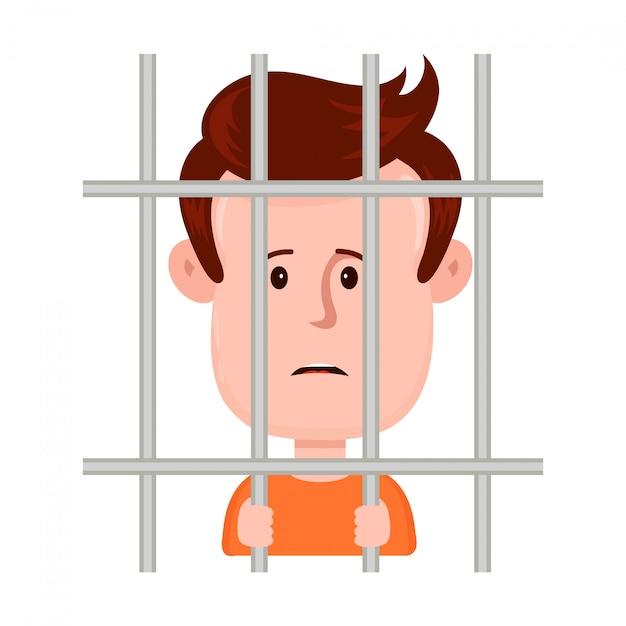 Giovane prigioniero triste dell'uomo dietro le barre, progettazione piana dell'illustrazione del personaggio dei cartoni animati isolato su priorità bassa bianca. prigioniero nel concetto di prigione Vettore Premium