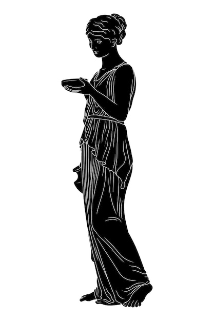 Una giovane donna greca antica, snella, si alza e tiene in mano una brocca di vino e una ciotola. Vettore Premium