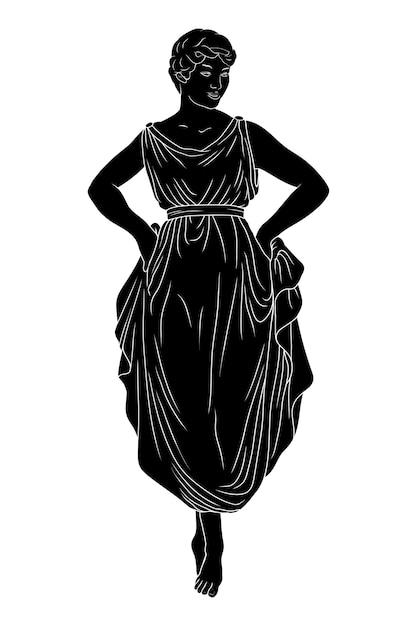 Una giovane donna snella in un vestito è in piedi sulle punte dei piedi e balla. Vettore Premium