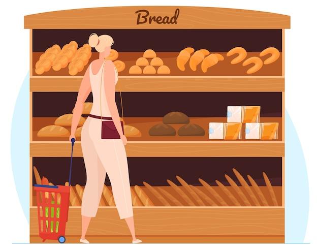 Giovane donna sorridente in piedi vicino agli scaffali del supermercato con generi alimentari. illustrazione vettoriale isolato piatto Vettore Premium