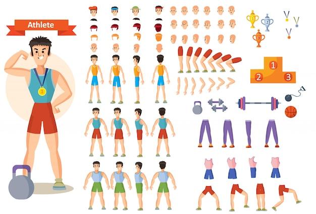 Giovane atleta uomo forte, sollevatore di pesi o bodybuilder in abbigliamento sportivo Vettore Premium