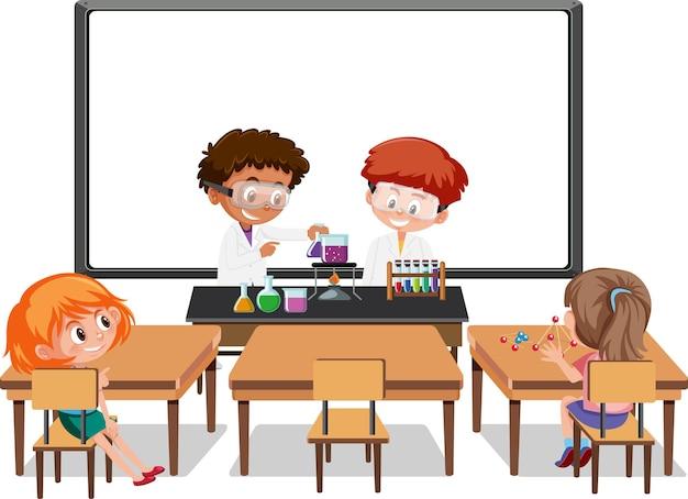 Giovani studenti che fanno esperimenti scientifici nella scena della classe Vettore Premium