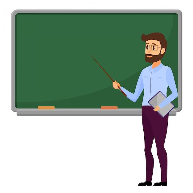 Giovane insegnante che sta davanti alla lavagna in bianco della scuola. Vettore Premium