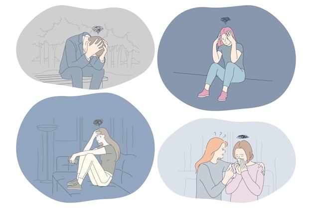 Giovani persone tristi infelici che ottengono il sostegno degli amici Vettore Premium