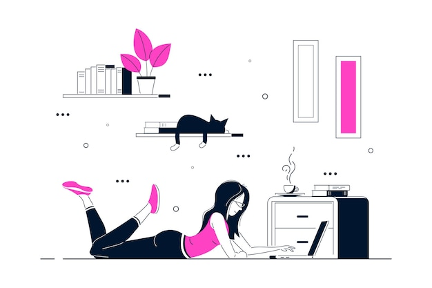 Giovane donna a casa sdraiato sul pavimento e lavora al computer. lavoro a distanza, home office, concetto di autoisolamento. illustrazione di arte linea stile piatto. Vettore Premium