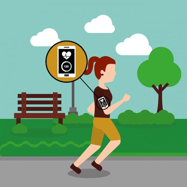 Giovane donna jogging sport smartphone battito cardiaco nel parco Vettore Premium