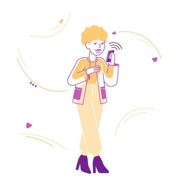 Giovane donna che osserva sullo schermo del messaggio di lettura dello smartphone Vettore Premium
