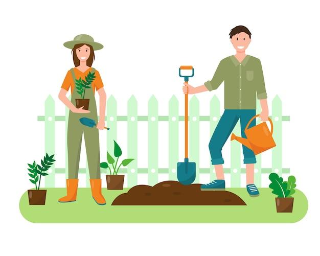 Giovane donna e uomo con piante e attrezzi da giardinaggio in giardino. concetto di giardinaggio. banner di primavera o estate o illustrazione di sfondo. Vettore Premium
