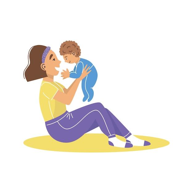 Una giovane donna madre che tiene il neonato in braccio. la mamma abbraccia il suo bambino. madre con un bambino. Vettore Premium