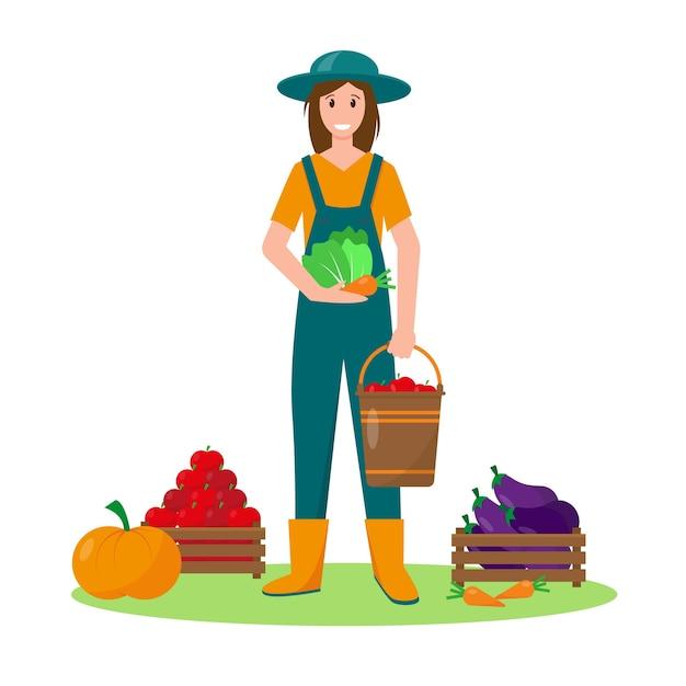 Giovane donna con le verdure. giardinaggio, raccolta o concetto di agricoltura. illustrazione vettoriale. Vettore Premium