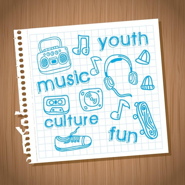 Disegno della cultura giovanile sopra illustrazione vettoriale sfondo in legno Vettore Premium