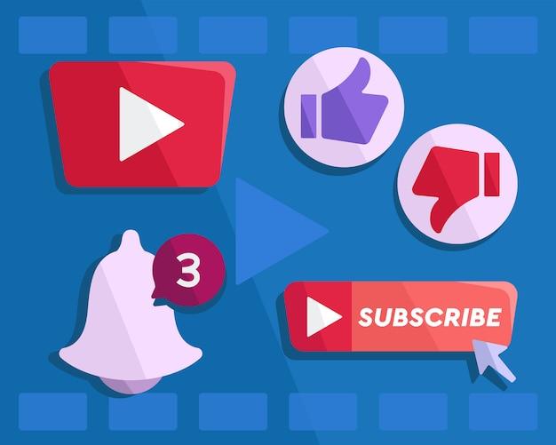 Vettore del tasto di youtube Vettore Premium