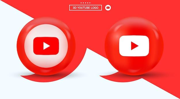 Youtube logo in circle logotipo di social media in stile moderno Vettore Premium