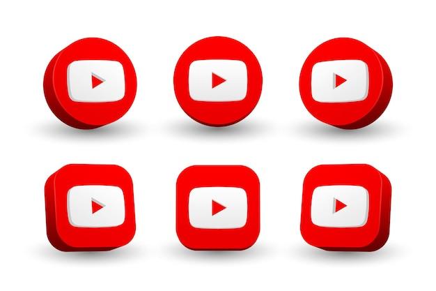 Collezione di icone logo youtube isolato su bianco Vettore Premium