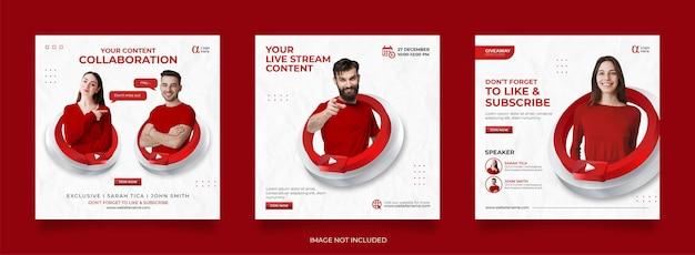 Modello di post sui social media di youtube Vettore Premium