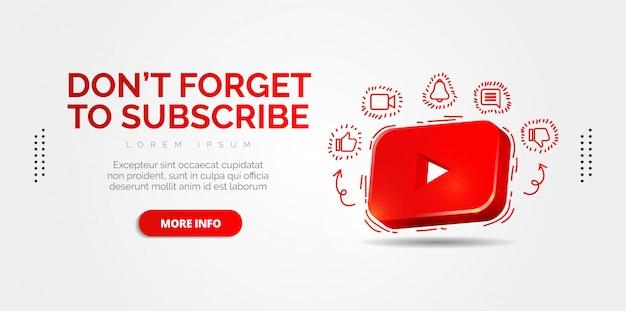Social media di youtube con disegni colorati. Vettore Premium