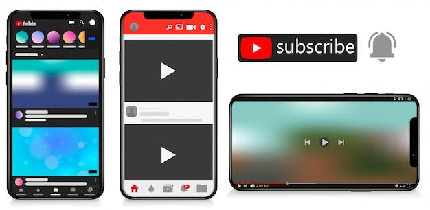 Interfaccia di concetto di app online canale video youtube, illustrazione di youtube. youtube sul telefono cellulare Vettore Premium
