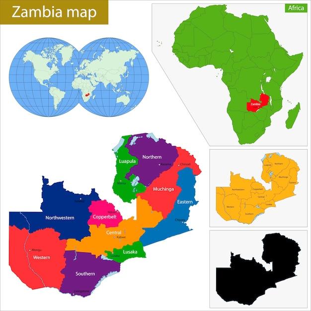 Mappa dello zambia Vettore Premium