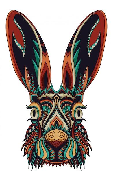 Illustrazione vettoriale di coniglio zentangle Vettore Premium