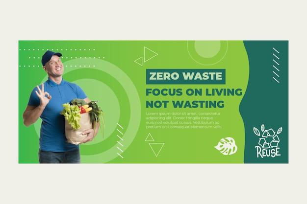 Modello di banner di rifiuti zero Vettore Premium