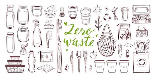 Insieme disegnato a mano zero rifiuti ed ecologia. raccolta di elementi eco e naturali Vettore Premium