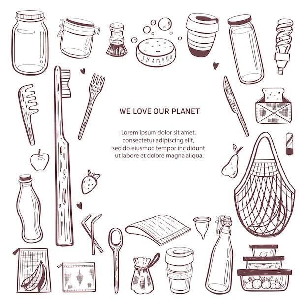 Fondo infographic disegnato a mano di rifiuti zero. raccolta di elementi naturali ed eco Vettore Premium