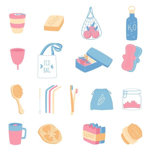 Set zero di rifiuti domestici. oggetti per bagno e cucina, borse per la spesa. illustrazione. Vettore Premium
