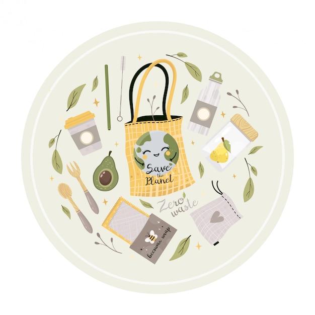 Set di illustrazioni di rifiuti zero. diventa verde. articoli o prodotti durevoli e riutilizzabili Vettore Premium