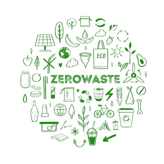 Insieme disegnato a mano di stile di vita dei rifiuti zero raccolta di elementi ecogici e naturali Vettore Premium