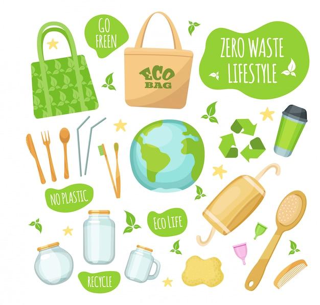 Zero rifiuti stile di vita illustrazioni, set di icone di stile verde eco-friendly Vettore Premium