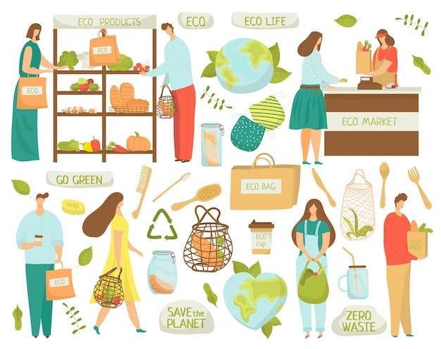 Zero rifiuti, riciclo, elementi eco di ridurre i simboli di plastica, illustrazioni di vita ecologica su bianco. niente plastica, diventa verde e zero rifiuti, prodotti di mercato biologici, sacchetti riutilizzabili. Vettore Premium