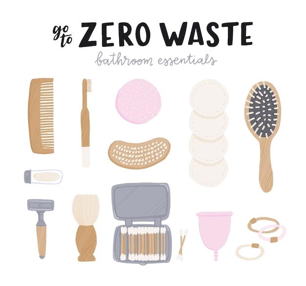 Set di elementi essenziali per il bagno a spreco zero con scritta sul display. Vettore Premium
