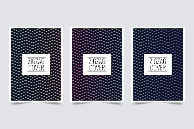 Design della copertina a zigzag Vettore Premium