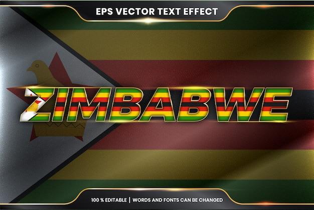 Zimbabwe con la sua bandiera nazionale del paese, stile di effetto testo modificabile con concetto di colore oro Vettore Premium