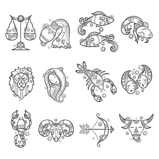 Personaggi zodiacali. l'oroscopo dell'astrologia firma i grafici dei tumori dei pesci di ariete del leone tatuaggi Vettore Premium