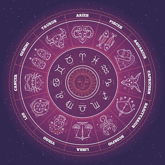 Cerchio dello zodiaco con segni dell'oroscopo. linea sottile . simboli astrologici e segni mistici. Vettore Premium