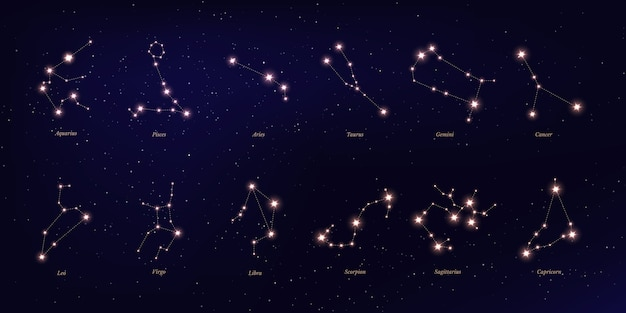 Costellazione dello zodiaco, simboli astrologici su sfondo stellato blu scuro. Vettore Premium