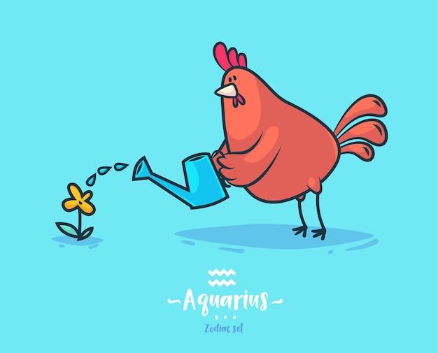 Segno zodiacale acquario. gallo e fiore. poster di sfondo cartolina d'auguri dello zodiaco. Vettore Premium