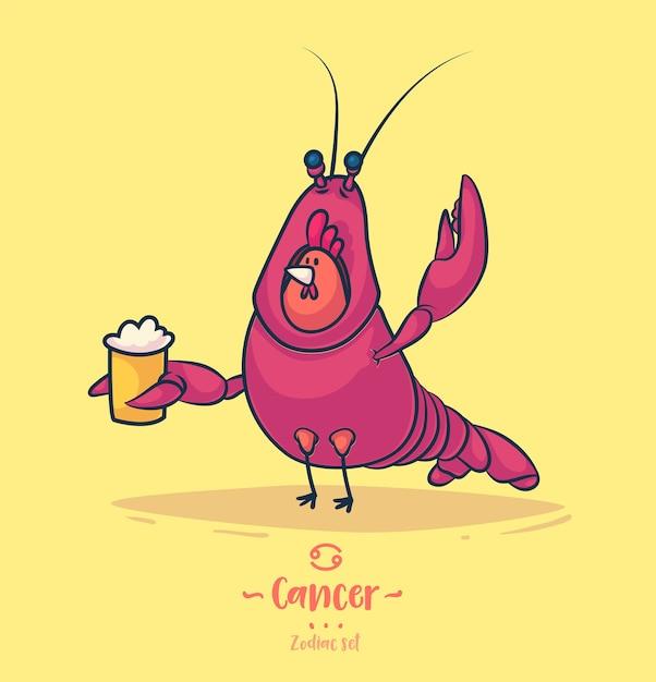 Cancro del segno zodiacale. gallo e una birra. poster di sfondo cartolina d'auguri dello zodiaco. Vettore Premium
