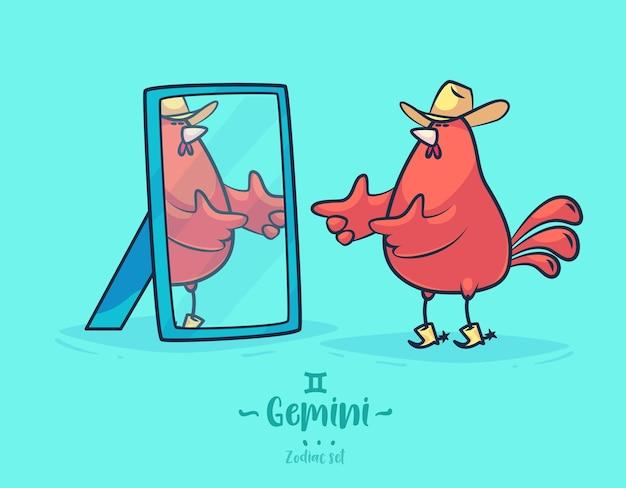 Gemelli segno zodiacale. gallo e specchio. poster di sfondo cartolina d'auguri dello zodiaco. Vettore Premium
