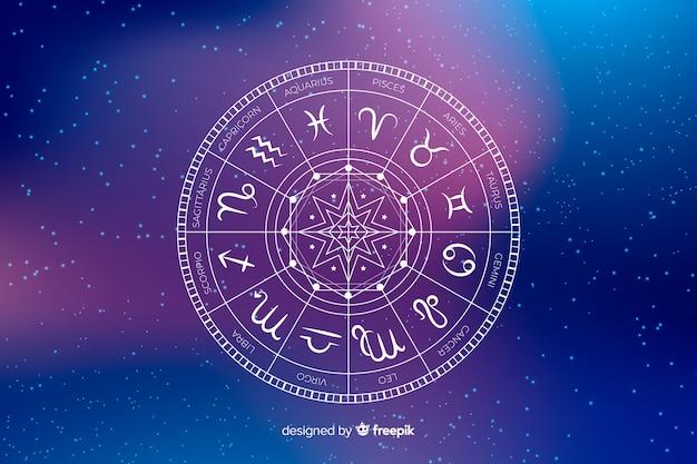 Ruota dello zodiaco su uno sfondo di spazio Vettore Premium